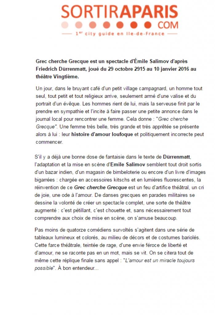 Article Sortir à Paris